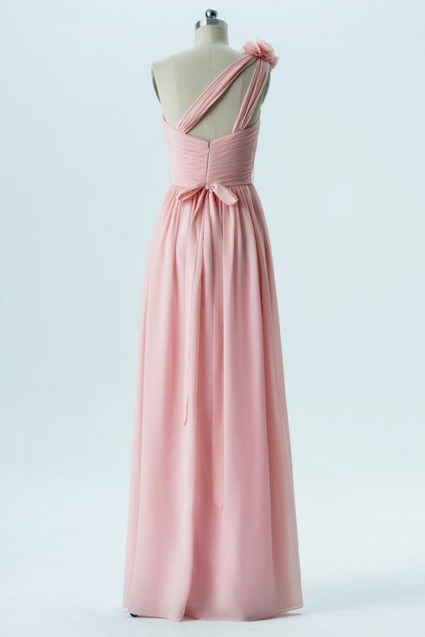 Soft Pink A Line Floor Length One Shoulder Sleeveless Open Back Cheap Bridesmaid Dresses B160