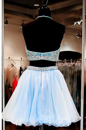 Simple Two Pieces Sleeveless Homecoming Dress,Halter Pearls Beading Crop Top Short Prom Dresses HCD60