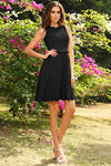 Black A Line Scoop Sleeveless Elastic Woven Satin Short Bridesmaid Dress, Wedding Party Dress B324 - Ombreprom