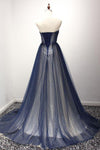 Navy A Line Sweep Train Straight Sleeveless Mid Back Lace Up Prom Dress,Party Dress P175 - Ombreprom