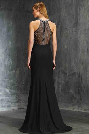 Black Trumpet Sweep Train Halter Sleeveless Sheer Back Cheap Prom Dress,Formal Dress P264 - Ombreprom