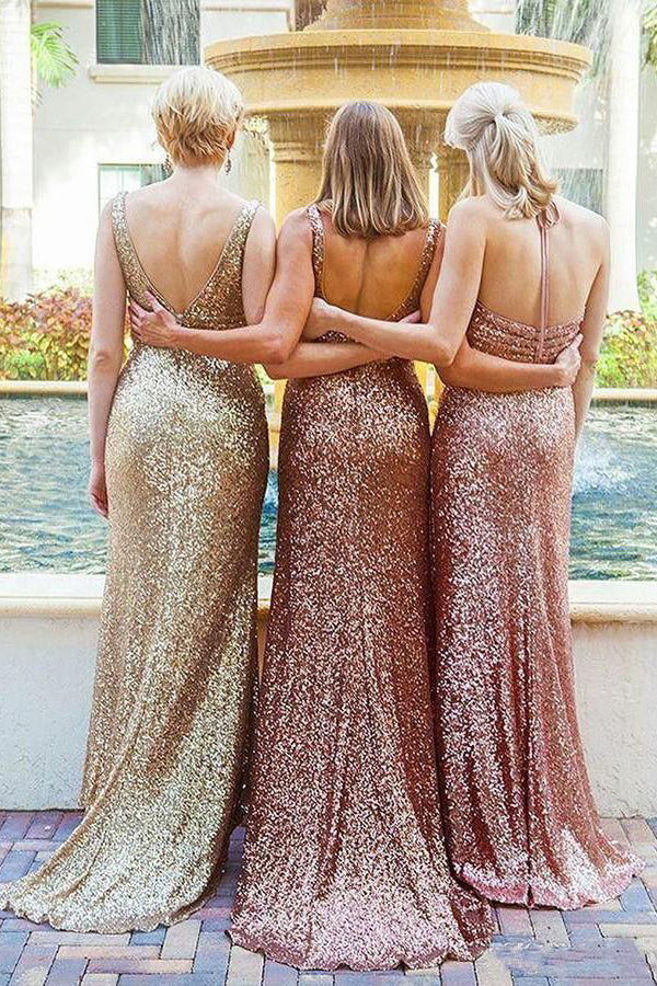 Stunning Sequins Halter V Neck Backless SweepTrain Bridesmaid Dress B453