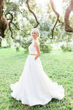 White A Line Floor Length Sweetheart Strapless Mid Back Cheap Wedding Gown,Beach Wedding Dress W150