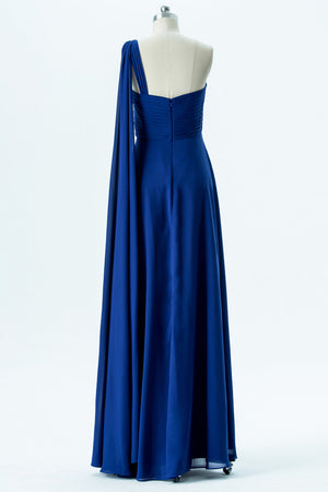 Classic Blue A Line Floor Length One Shoulder Sleeveless Open Back Cheap Bridesmaid Dresses B137 - Ombreprom