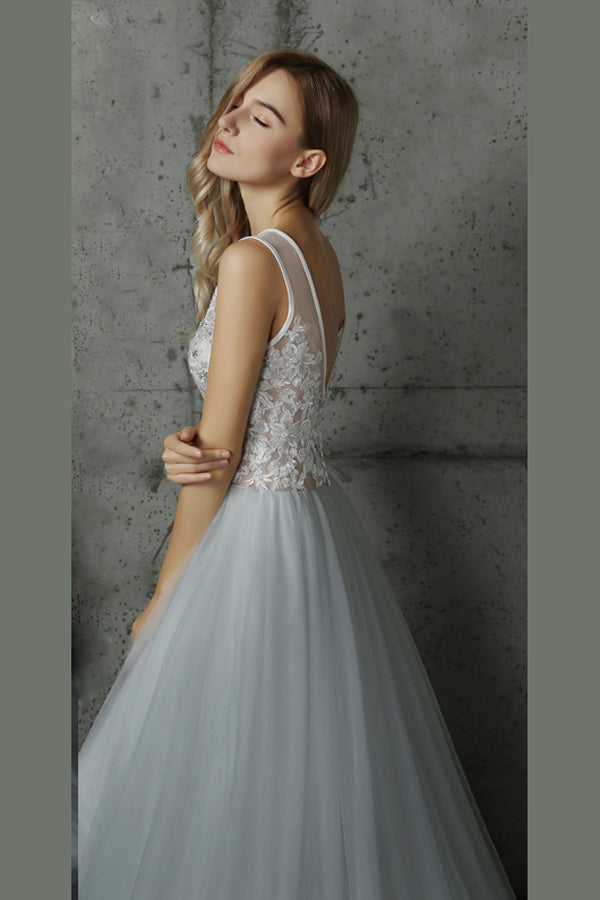 White A Line Brush Train Deep V Neck Layers Tulle Wedding Dress,Beach Wedding Dress W215