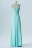 Mint Green A Line Floor Length Sweetheart Sleeveless Open Back Cheap Bridesmaid Dresses B135 - Ombreprom