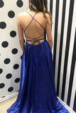 Royal Blue A Line Brush Train Sleeveless Backless Side Slit Prom Dress,Party Dress P427 - Ombreprom