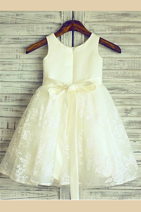 A Line Floor Length Scoop Neck Sleeveless Zipper Back Ribbon Flower Girl Dresses,Baby Dress F20 - Ombreprom