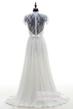 A Line Court Train V Neck Capped Sleeve Chiffon Wedding Dress,Cheap Wedding Dress W256