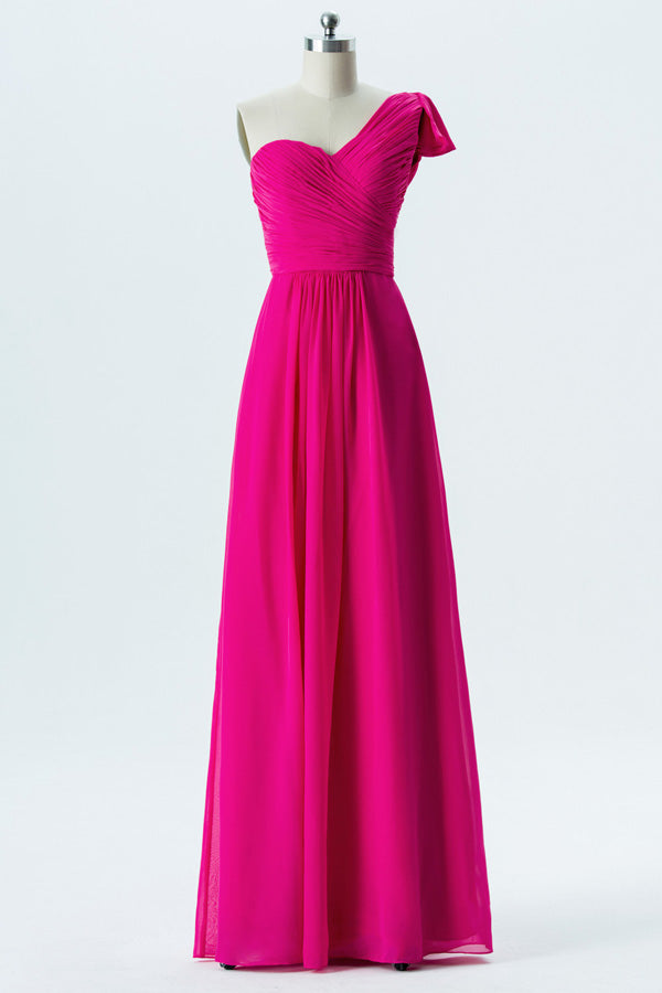 Peony A Line Floor Length One Shoulder Sleeveless Chiffon Cheap Bridesmaid Dresses