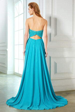 Green A Line Sweep Train Strapless Sleeveless Open Back Beading Prom Dress,Party Dress P338