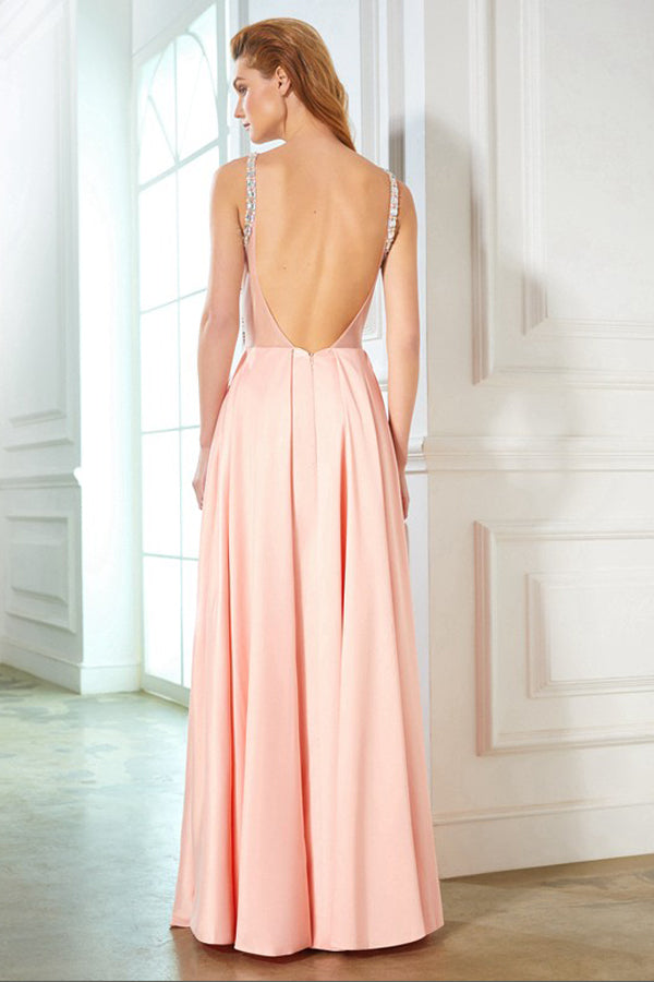 Pink A Line Floor Length Halter Sleeveless Backless Beading Satin Prom Dress,Formal Dress P309 - Ombreprom