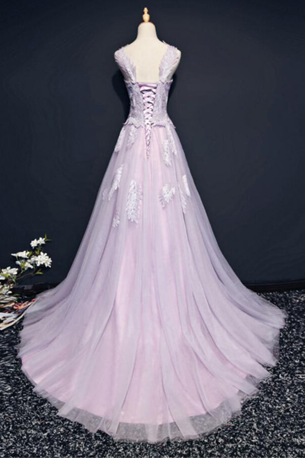 Pink A Line Brush Train Sleeveless Layers Tulle Lace Up Prom Dress,Party Dress P419 - Ombreprom