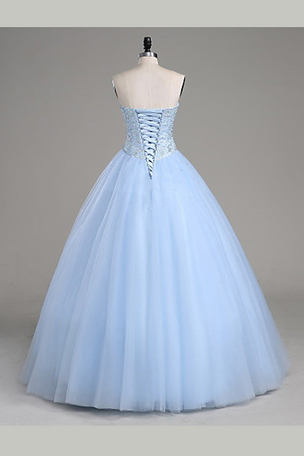 Light Blue Ball Gown Floor Length Sweetheart Strapless Sleevless Beading Prom Dress,Party Dress P121
