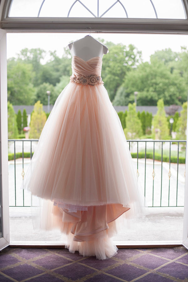 Pink A Line Chapel Train Sweetheart Sleeveless Layers Organza Wedding Dress,Beach Wedding Dress W240 - Ombreprom