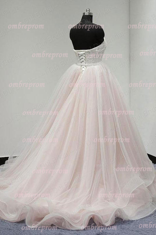 Pink Ball Gown Court Train Sweetheart Sleeveless Appliques Wedding Dress,Wedding Gowns W291 - Ombreprom