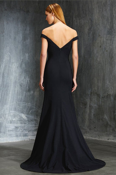 Black Sheath Sweep Train Off Shoulder Sleeveless Open Back Satin Prom Dress,Formal Dress P305 - Ombreprom