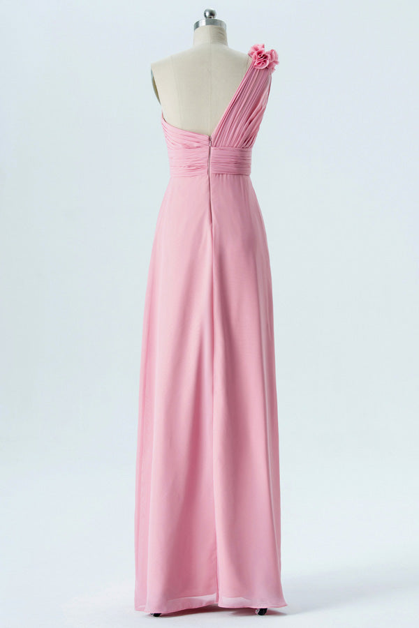 English Rose A Line Floor Length One Shoulder Sleeveless Mid Back Cheap Bridesmaid Dresses B188 - Ombreprom