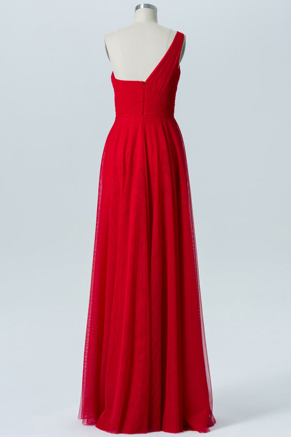 Red A Line Floor Length One Shoulder Sleeveless Open Back Cheap Bridesmaid Dresses B138 - Ombreprom