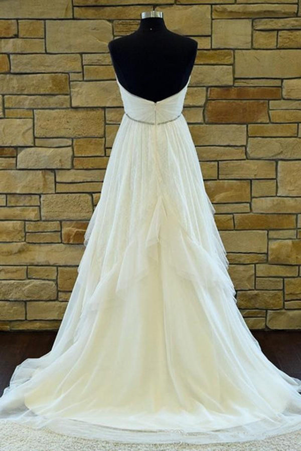 Sweetheart Strapless Court Train Cheap Wedding Gown,A Line Backless Ruffles Wedding Dress W140 - Ombreprom