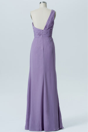 Lavender Grey A Line Floor Length One Shoulder Sleeveless Open Back Cheap Bridesmaid Dresses B153