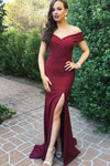 Burgundy Sheath Brush Train Off Shoulder Side Slit Prom Dress,Party Dress P495 - Ombreprom