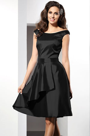 a4db11acf4 Black A Line Scoop Capped Sleeve Taffeta Short Bridesmaid Dress, Wedding  Party Dress B325
