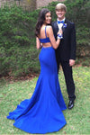 Blue Trumpet Brush Train Sleeveless Open Back Prom Dress,Party Dress P445 - Ombreprom
