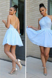 Sexy A-line Chiffon Homecoming Dress, Light Blue Backless Lace Top Short Prom Dress HCD35 - Ombreprom