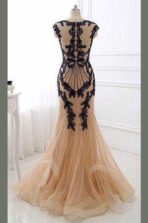 Sheath Brush Train Capped Sleeve Zipper Back Appliques Tulle Prom Dress,Party Dress P356 - Ombreprom