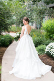 Deep V Neck Backless Cheap Wedding Gown,Sweep Train Sleeveless Ball Gown Wedding Dress W134 - Ombreprom