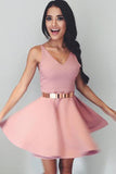 Cute Sleeveless Simple V Neck Satin Short  Homecoming Dresses M441
