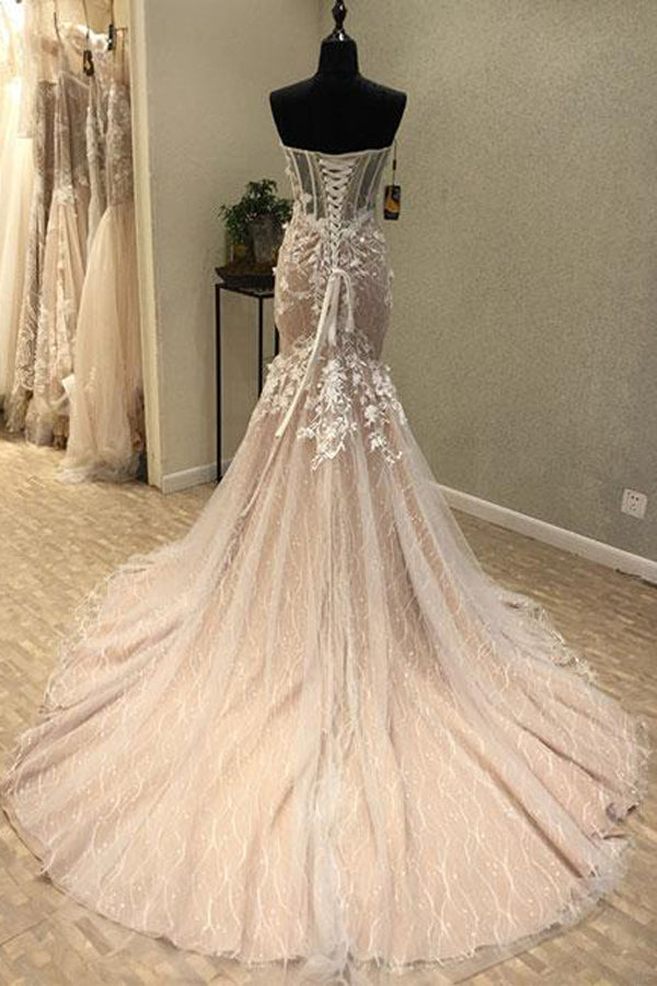 Trumpet Court Train Sweetheart Sleeveless Lace Up Appliques Prom Dress,Party Dress P360 - Ombreprom