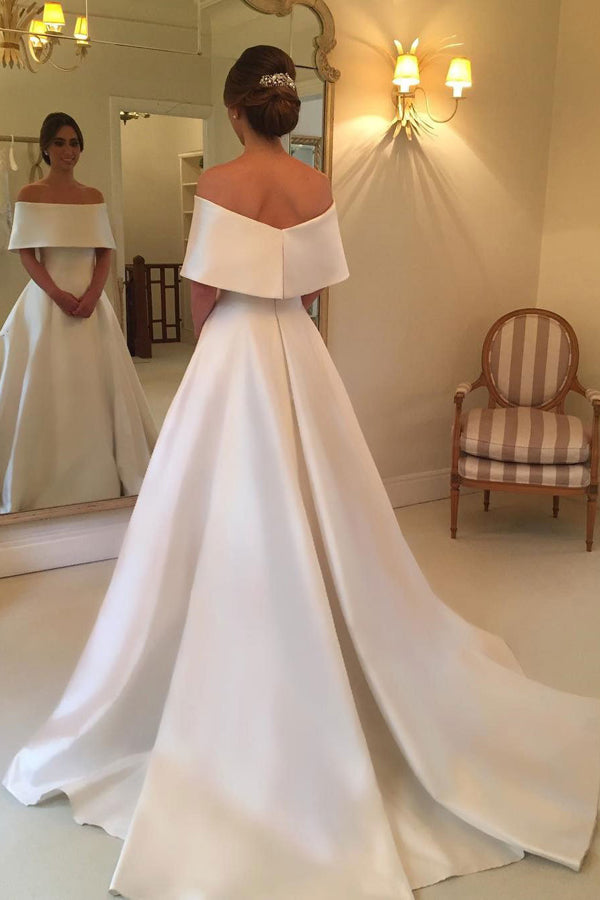 A Line Court Train Off Shoulder Simple Wedding Dress,Perfect Wedding Dress W272