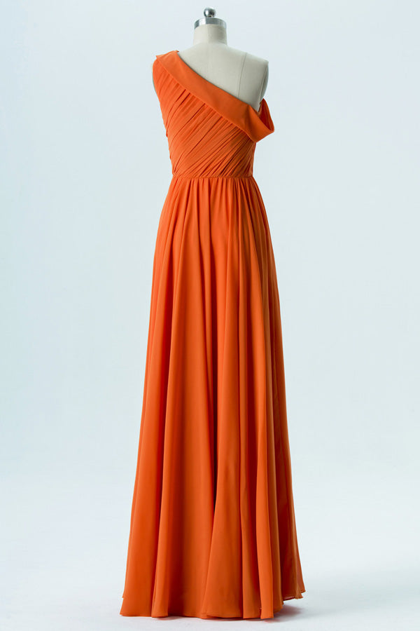 Mandarin Orange A Line Floor Length One Shoulder Sleeveless Chiffon Cheap Bridesmaid Dresses B142