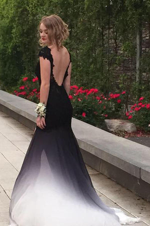 Ombre Trumpet Court Train Capeed Sleeve Appliques Side Slit Prom Dress,Formal Dress O15 - Ombreprom