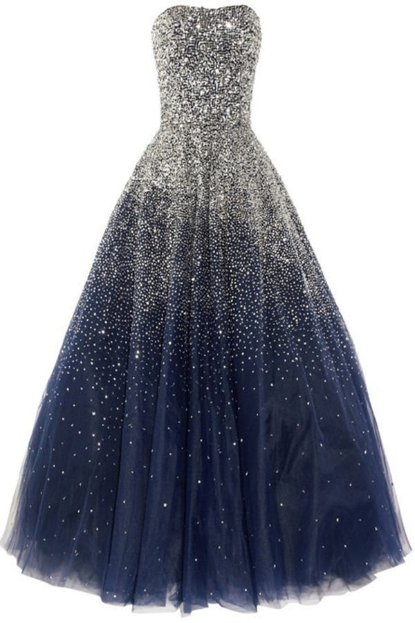 Navy Blue Floor Length A Line Sweetheart Sleeveless Sparkle Starry Night Long Prom Dress,Party Dress P203 - Ombreprom