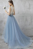 Blue Two Piece A Line Brush Train Sleeveless Layers Tulle Prom Dress,Party Dress P396 - Ombreprom