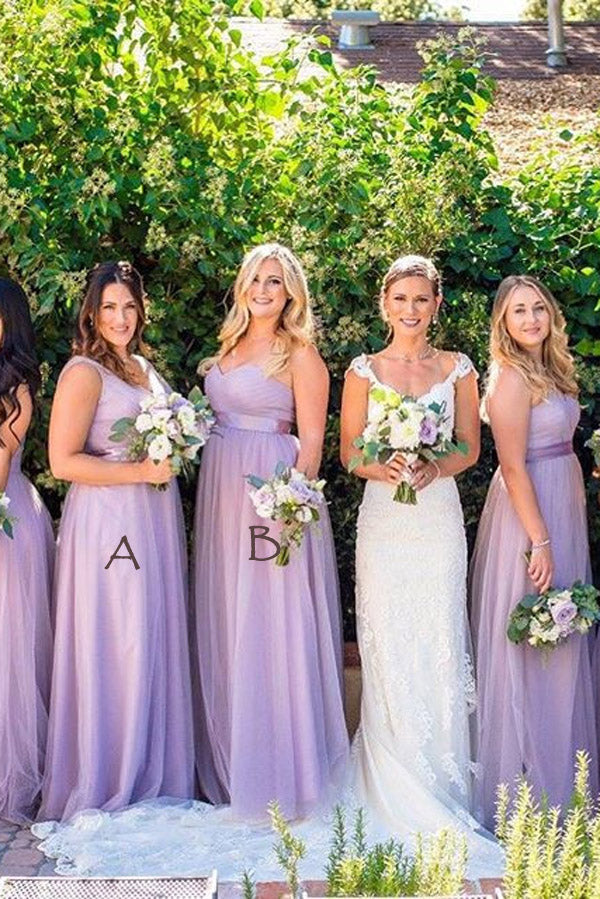 Lavender A Line Floor Length Sweetheart Sleeveless Layers Bridesmaid Dress,Wedding Party Dress