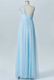 Pastel Blue A Line Floor Length Straight Neck Sleeveless Open Back Cheap Bridesmaid Dresses B184 - Ombreprom