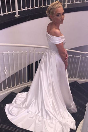 f8c7205986 White A Line Court Train Off Shoulder Satin Beach Wedding Gown,Cheap Wedding  Dress W168
