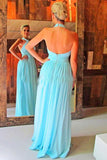 Blue A Line Floor Length Halter Backless Chiffon Cheap Bridesmaid Dress B248 - Ombreprom