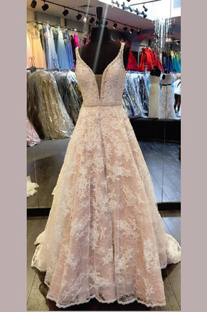 Pink A Line Sweep Train Deep V Neck Open Back Floral Beading Prom Dress,Party Dress P134 - Ombreprom