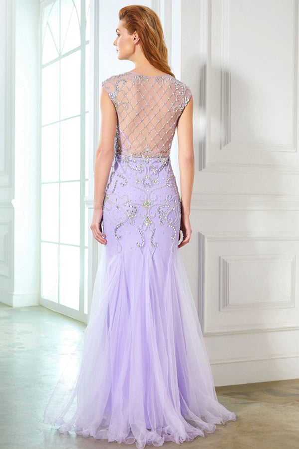 Lavender Trumpet Floor Length Capped Sleeve Sheer Back Beading Prom Dress,Party Dress P337