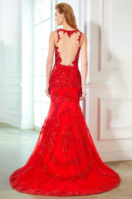 Red Sheath Sweep Train Sheer Neck Sheer Back Applilques Beading Prom Dress,Party Dress P326 - Ombreprom