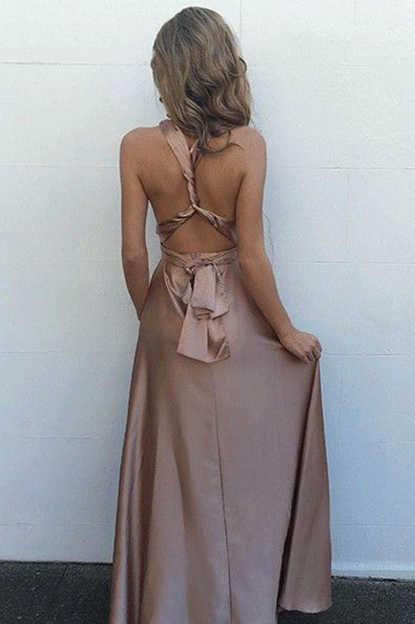 Pastel Pink A Line Floor Length Deep V Neck Sleeveless Backless Prom Dress,Formal Dress P101 - Ombreprom