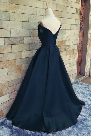 A Line/Princess Sweep Train Off Shoulder Open Back Evening/Prom Dress P48 - Ombreprom