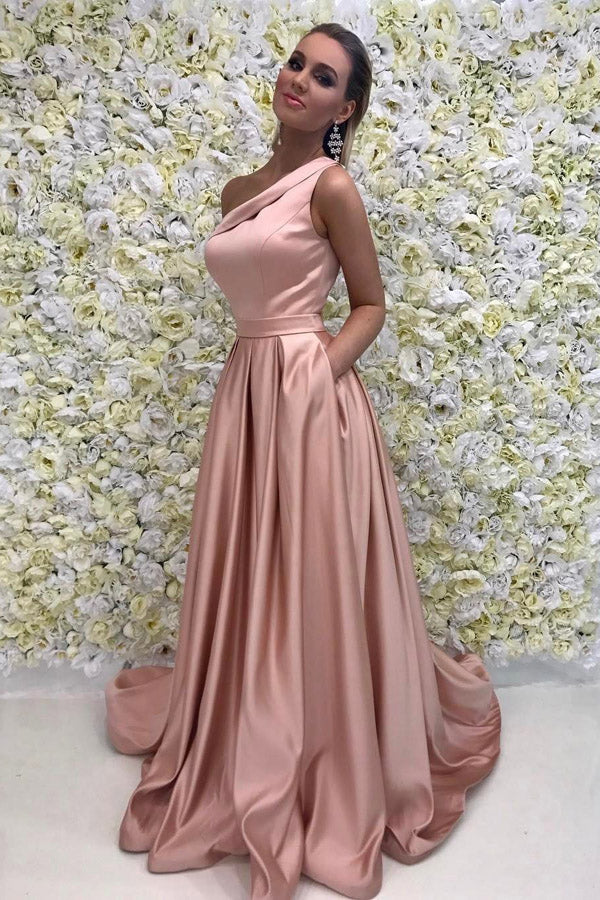 Pink A Line Brush Train One Shoulder Sleeveless Prom Dress,Party Dress P477