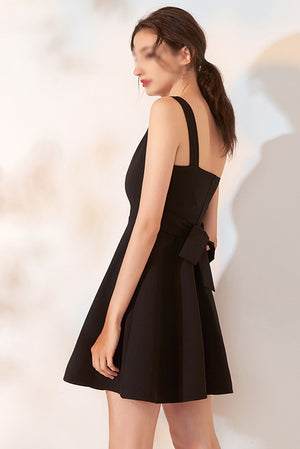 Black Sleeveless V Neck A Line With Bowknot Homecoming Dress M552 - Ombreprom