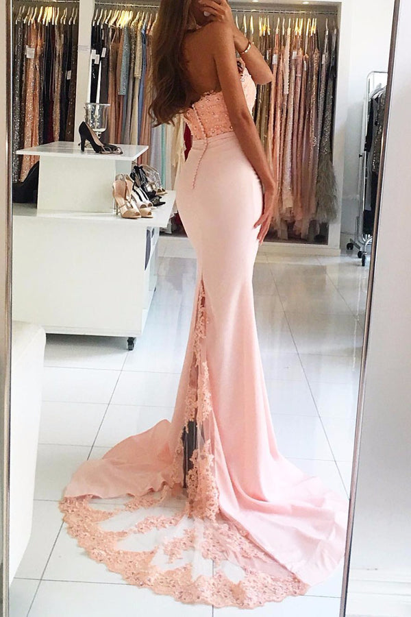 Pink Sheath Court Train Halter Sleeveless Mid Back Appliques Beading Prom Dress,Party Dress P153 - Ombreprom